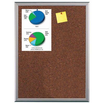 """Cork Bulletin Board 16""""w x 22""""h Silver Aluminum Frame"""