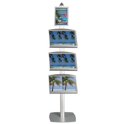 Free Standing Literature Display Stands with Frame Single Sided Silver