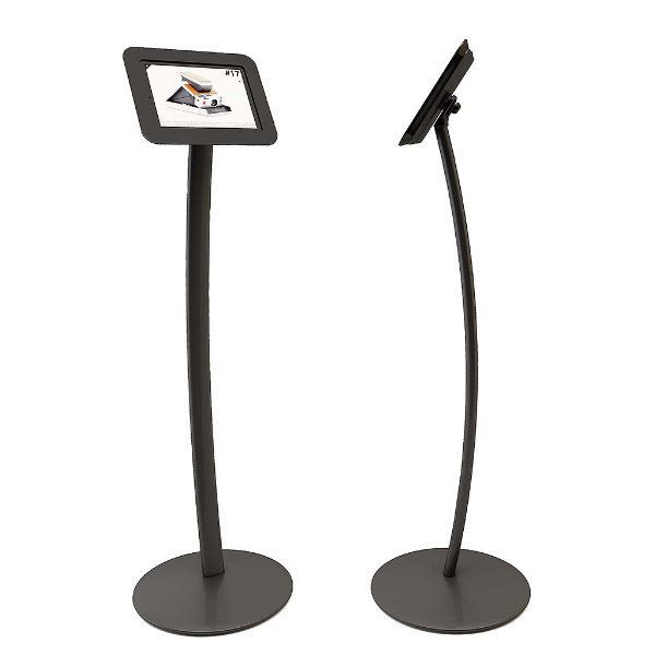 iPad Stand - Curved Kiosk Black, Acrylic Cover iPad, iPad 2 & iPad 3