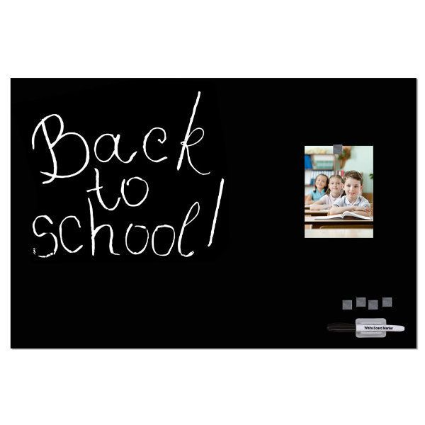 """Magnetic Glass Board Black, 15.75"""" x 23.63"""" With Pen & 4 Magnetic Pins"""