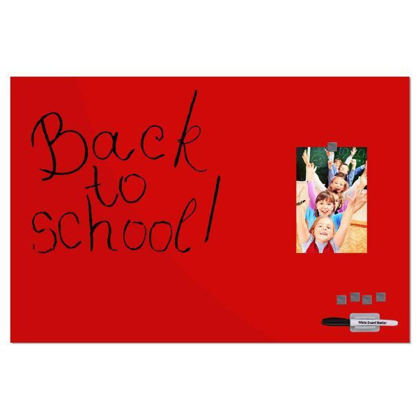 """Magnetic Glass Board Red, 15.75"""" x 23.63"""" With A Pen & 4 Magnetic Pins"""