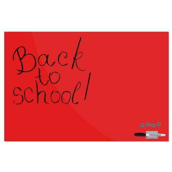 """Magnetic Glass Board Red, 23.63"""" x 35.44"""" With A Pen & 4 Magnetic Pins"""
