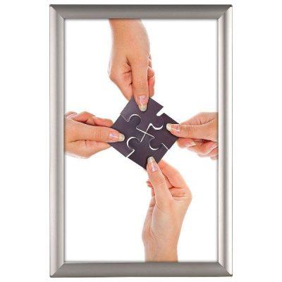 "Opti Frame 11"" x 17"" 1"" Silver, Safe Corner Profile, Without Back Support"