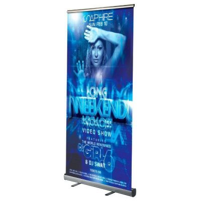 "Retractable Banner/ Roll Up Stands 33.5"" Silver Anodized Aluminum"