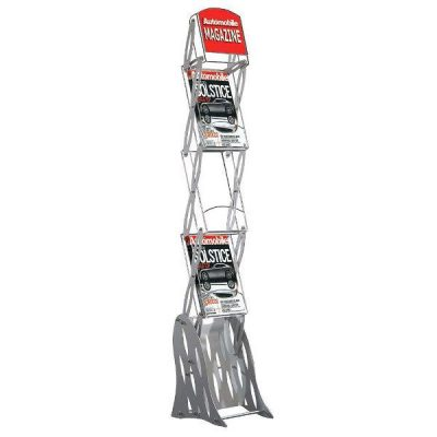 "Zig-Zag Rack Acrylic Stand without Bag 3 x 8.5""x11"" Shelf & 1 Header"