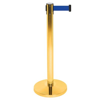 Made of stainless steel, Stanchion with Retractable Blue Belt