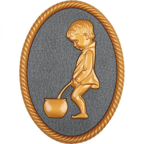 Oval shape Gold color plastic injected toilet sign, men