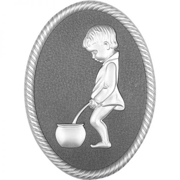 Oval shape Silver framed plastic injected toilet sign,men