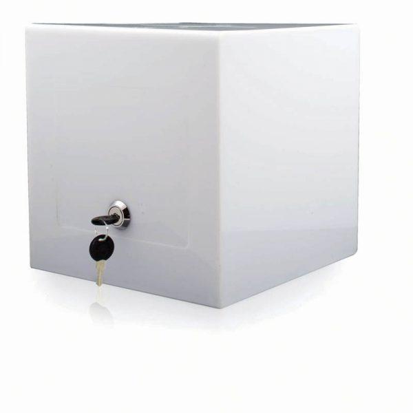 "Solid white locking Puzzle Box 12"" x 12"""