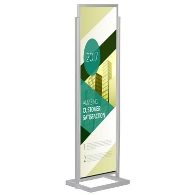22x69 Portable Eco Infoboard Display Stand Silver