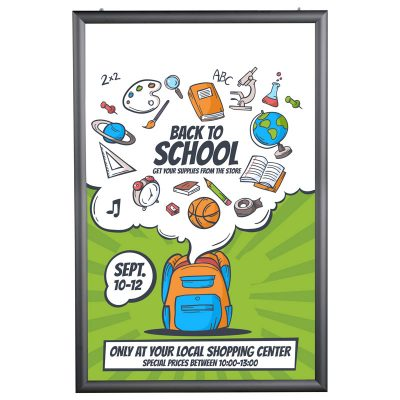40x60 Portable Snap Poster Frame - 1,77 inch Black Mitred Profile