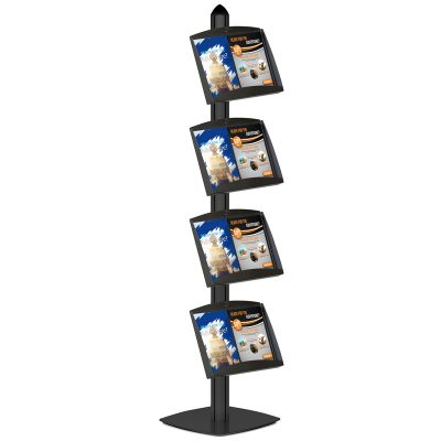 Free Standing Displays with 4 Shelves Single Sided Black 4 Channel
