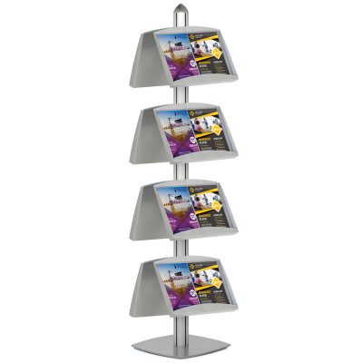 Free Standing Displays with 8 Shelves Double Sided Silver 4 Channel