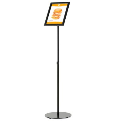 Floor-Sign-Stand-Holder-With-Telescoping-Pole-Black-Snap-Frame-8.5x11