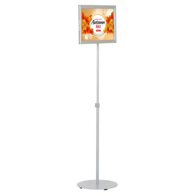 Floor-Sign-Stand-Holder-With-Telescoping-Pole-Silver-Double-Sided-Slide-In-Frame-11x17