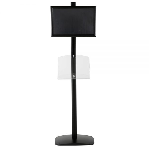 free-standing-stand-in-black-color-with-1-x-11X17-frame-in-portrait-and-landscape-and-1-2-x-8.5x11-clear-shelf-in-acrylic-single-sided-11