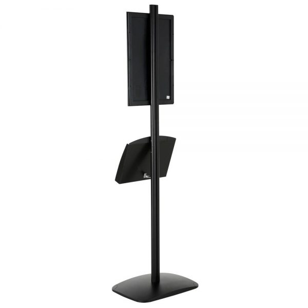 free-standing-stand-in-black-color-with-1-x-11X17-frame-in-portrait-and-landscape-and-2-x-5.5x8.5-clear-pocket-shelf-single-sided-13
