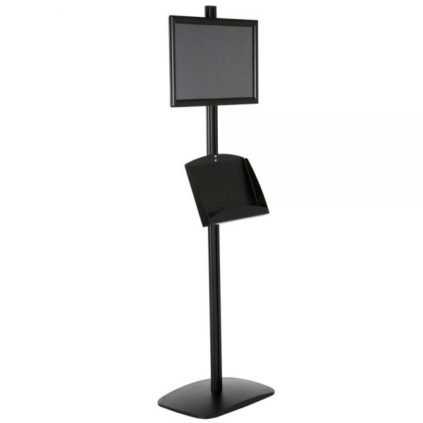 free-standing-stand-in-black-color-with-1-x-11X17-frame-in-portrait-and-landscape-and-2-x-5.5x8.5-clear-pocket-shelf-single-sided-6