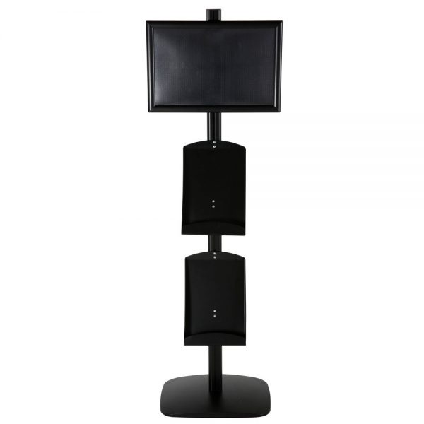 free-standing-stand-in-black-color-with-1-x-11X17-frame-in-portrait-and-landscape-and-2-x-8.5x11-steel-shelf-single-sided-12
