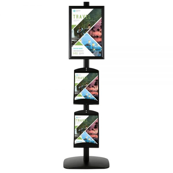 free-standing-stand-in-black-color-with-1-x-11X17-frame-in-portrait-and-landscape-and-2-x-8.5x11-steel-shelf-single-sided-4