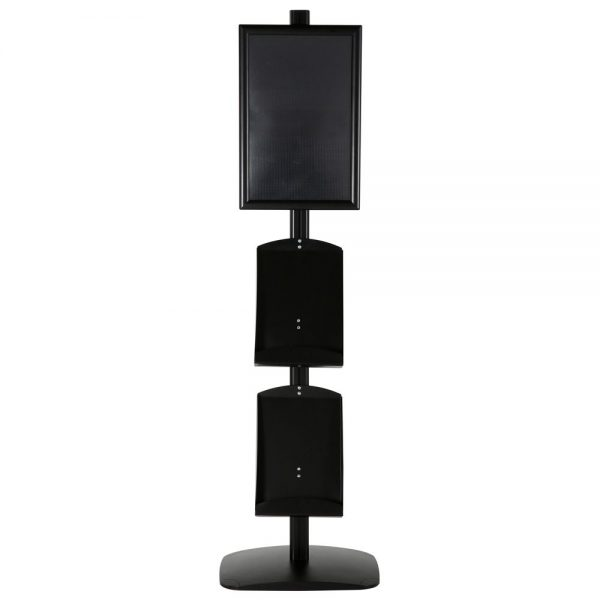 free-standing-stand-in-black-color-with-1-x-11X17-frame-in-portrait-and-landscape-and-2-x-8.5x11-steel-shelf-single-sided-5