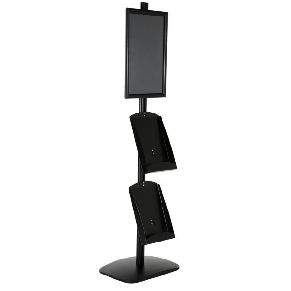 free-standing-stand-in-black-color-with-1-x-11X17-frame-in-portrait-and-landscape-and-2-x-8.5x11-steel-shelf-single-sided-6