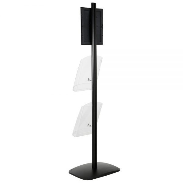 free-standing-stand-in-black-color-with-1-x-8.5X11-frame-in-portrait-and-landscape-and-2-x-8.5x11-clear-shelf-in-acrylic-single-sided-8