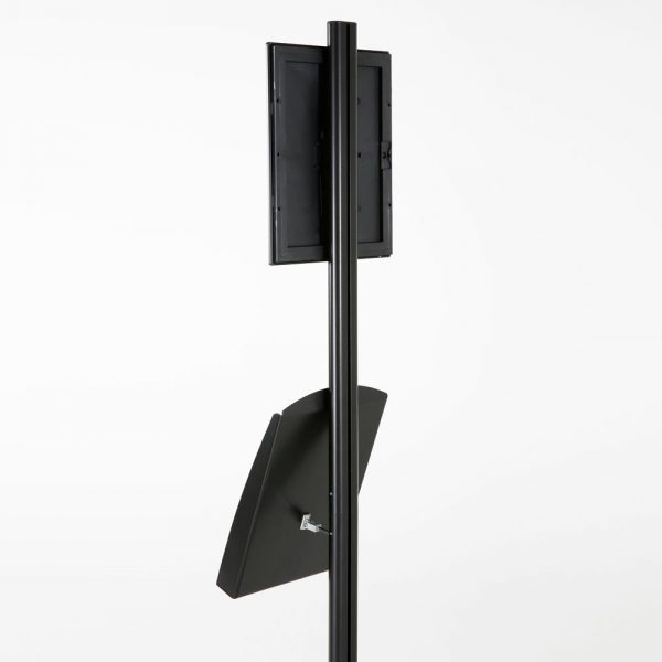 free-standing-stand-in-black-color-with-1-x-8.5x11-frame-in-portrait-and-landscape-and-1-x-8.5x11-steel-shelf-single-sided-8