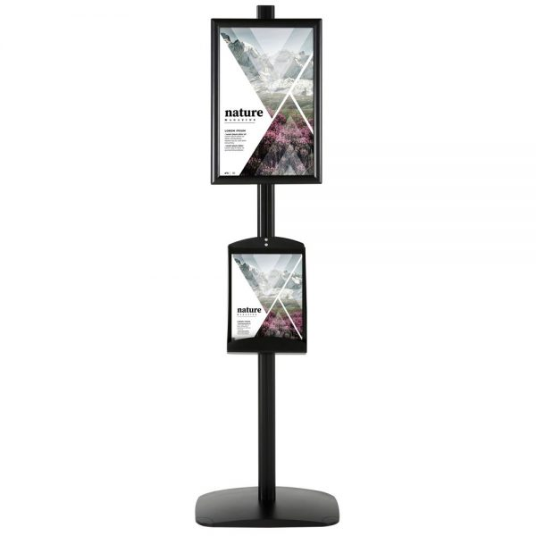 free-standing-stand-in-black-color-with-2-x-11X17-frame-in-portrait-and-landscape-and-2-x-8.5x11-steel-shelf-double-sided-4