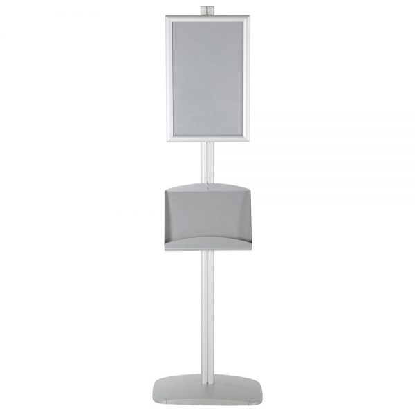free-standing-stand-in-silver-color-with-1-x-11X17-frame-in-portrait-and-landscape-and-2-x-5.5x8.5-steel-shelf-single-sided-12