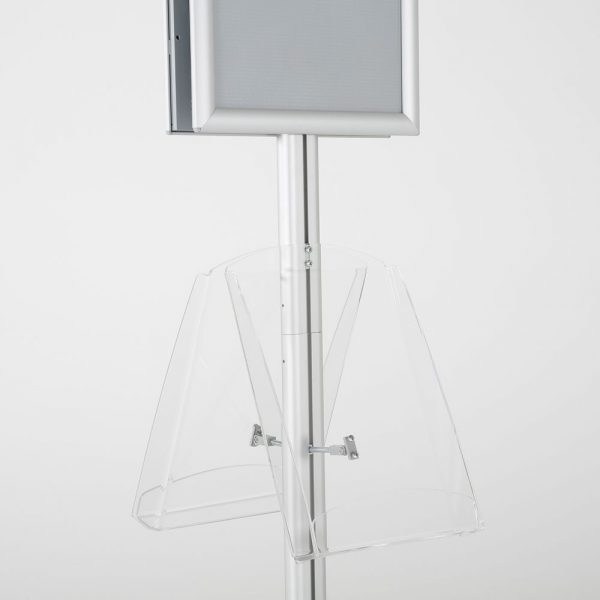 free-standing-stand-in-silver-color-with-2-x-11X17-frame-in-portrait-and-landscape-and-2-x-8.5x11-clear-shelf-in-acrylic-double-sided-11