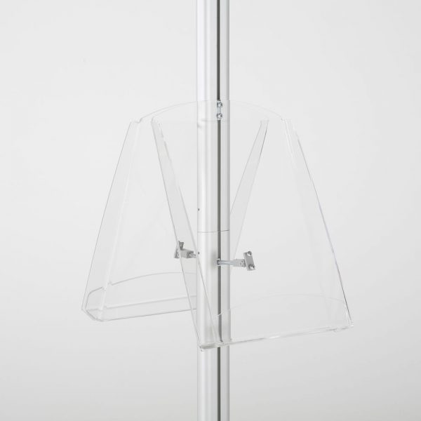 free-standing-stand-in-silver-color-with-2-x-11X17-frame-in-portrait-and-landscape-and-2-x-8.5x11-clear-shelf-in-acrylic-double-sided-8