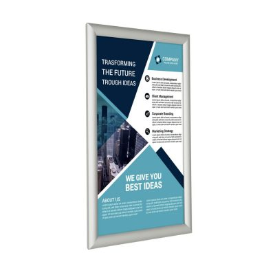 11x17-fire-resistant-snap-poster-frame-1-inch-silver-mitered-corner