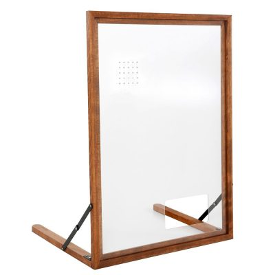 Wood Framed Clear Hygiene Separator on Counter